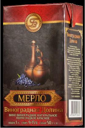 """""""МЕРЛО"""" Вино Виноградное Натуральное Полусладкое Красное 1л"""