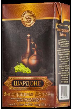 «ШАРДОНЕ» Вино виноградное натуральное полусладкое белое 1л